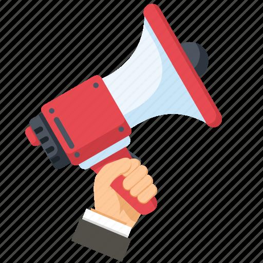 advertisement, advertising, hand, loudspeaker, megaphone icon