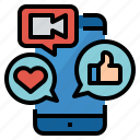 ecommerce, live, social, stream icon