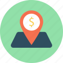 business, dollar, finance, map pin, pin icon