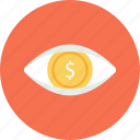 business, dollar, eye, finance, view icon