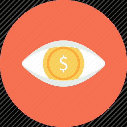 business, dollar, eye, finance, view icon