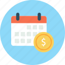 business, calendar, dollar, finance icon