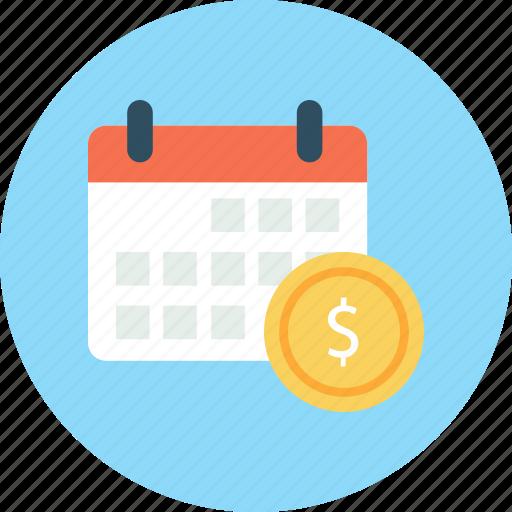 business, calendar, dollar, finance icon
