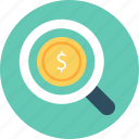 business, dollar, finance, magnifier icon