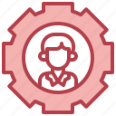 management, boss, cogwheels, gears, support icon