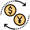 business, change, currency, digital, exchange, finance, online icon