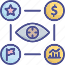 analysis, business, forecast, information, vision icon