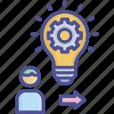 creativity, idea, innovation, process, rational icon