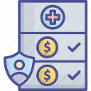 compensation, coverage, fee, insurance, medical icon