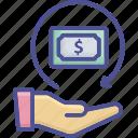 change, compensation, refund, reimbursement, withdraw icon