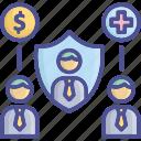 compensation, coverage, insurance, insurer, welfare icon