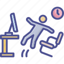 accident, mischance, office, reckless, slippery icon