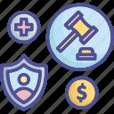 compensation, enforce, law, legal, welfare icon