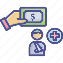 compensation, hurt, injury, payment, welfare icon