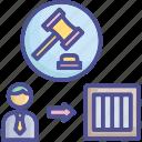 break, law, litigation, tort, violator icon