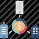partnership, business, shareholder, turnover, marketshare icon