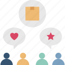 communicate, customer, product, review, user icon