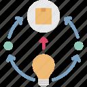 idea, novelty, product, production, storytelling icon