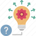 education, idea, innovation, knowledge, solution icon