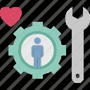 customer, heart, maintenance, service, support icon