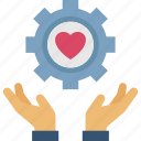 heart, service, sincere, support, willing icon