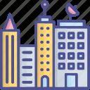 building, city, globalization, media building, metropolitan icon