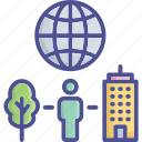 city, ecological, environment, globe, world environment icon