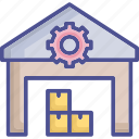 factory, inventory, parcel, stock, warehouse icon