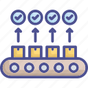 check, failure, product conveyor, production, production conveyor icon