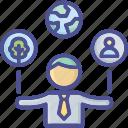 business, businessman, control, csr, management icon