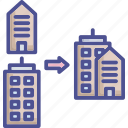 business, collaborate, company, merger, trade center icon