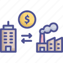 company, factory, industrial, industrial building, merger icon