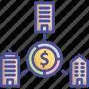 business, turnover, shareholder, marketshare, partnership icon