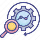 analyse, evaluating, search, statistic, test icon