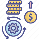 business, coin, financing, investment, investment process icon