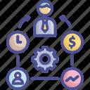 businessman, employee, executive, management, workaholic icon