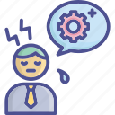 busy, force, overwork, stress, tire icon