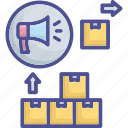 advertising, distribution, product, promote, sale icon