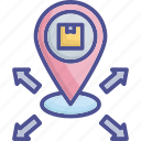 distribution, export, location, positioning, product icon