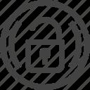 circle, digital, encryption, password, security, unlock icon