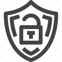 digital, encryption, protection, security, shield, unlock icon