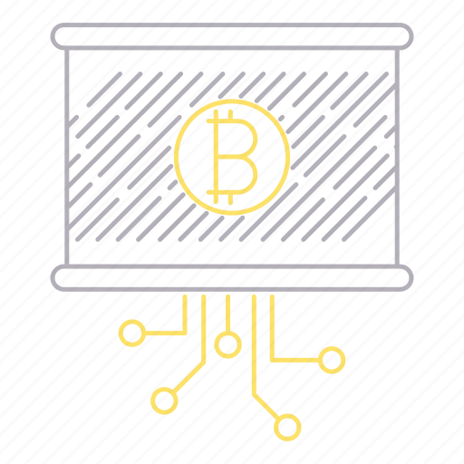 bitcoin, currency, digital services, presentation, report icon