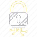digital services, padlock, protection, security icon