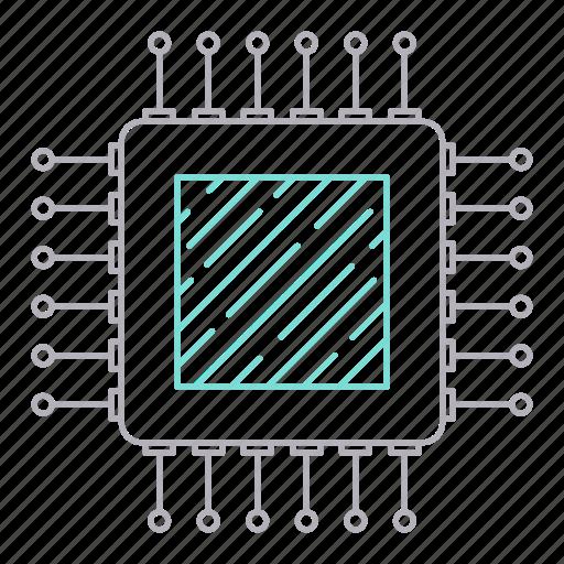 circuit, computer, digital services, processor icon