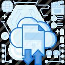 arrow, arrows, cloud, document, paper, storage, transfer