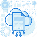 cloud, database, document, network, page, paper, storage