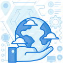 care, cloud, gesture, global, hand, international, planet icon