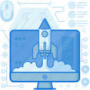 computer, launch, monitor, rocket, screen, start, up