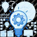 digital, gear, idea, lightbulb, mind, process, thought