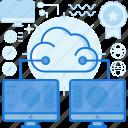cloud, computer, monitor, network, screen, sharing, storage